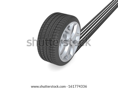 Tire with track on white