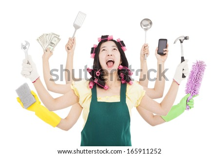 tired and busy woman with multitasking concept