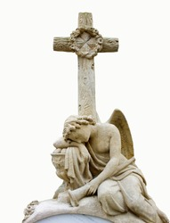 Tired angel under the cross. Concept pain and suffering