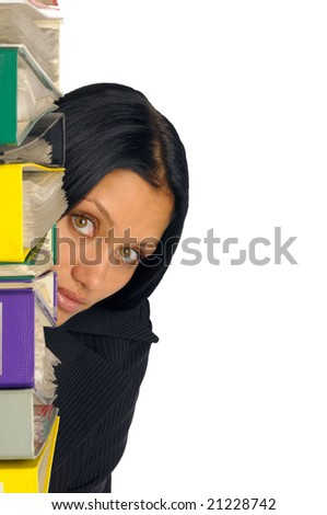 tired beatiful businesswoman with lot of documents #21228742