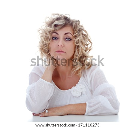 Tired blonde woman portrait - isolated