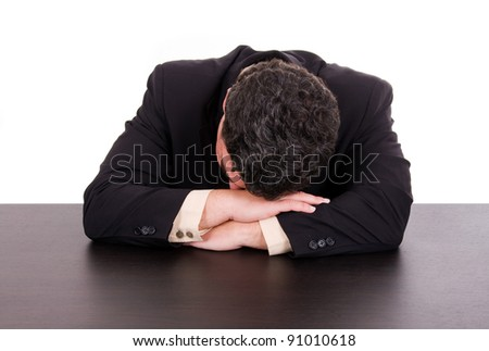 Tired business man spleeping at the desk office