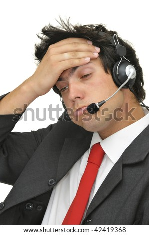 Tired businessman with headphones isolated in white