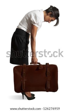 Tired businesswoman on white background - stock photo