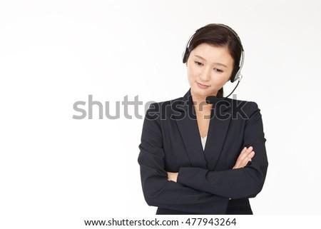 Tired call center operator #477943264