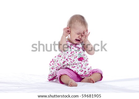 tired crying baby isolated over white