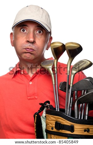 Tired golfer next to his bag