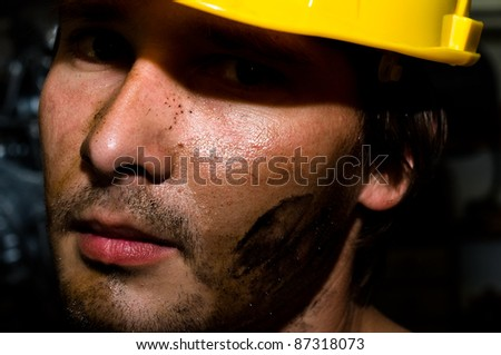 Tired industrial worker