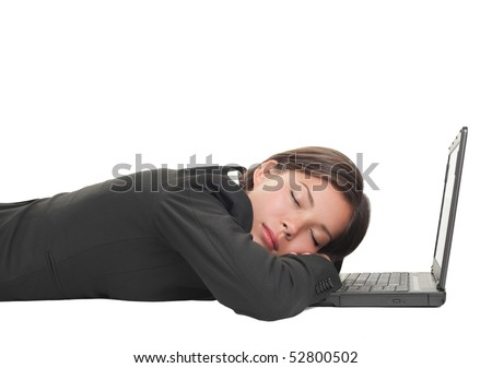 Tired overworked business woman sleeping on her laptop being exhausted from work, Beautiful mixed race Chinese Asian-Caucasian young businesswoman isolated on white and lying down on the floor.