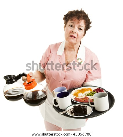 Tired, overworked waitress trying to carry too many things. Isolated on white.