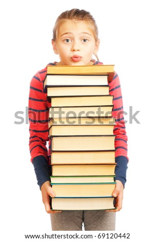 Tired schoolgirl with a pile of books on white background
