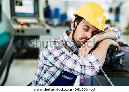tired worker fall asleep during ...
