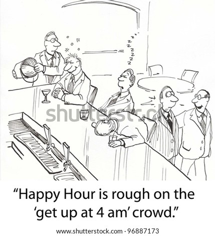 tired workers asleep at bar