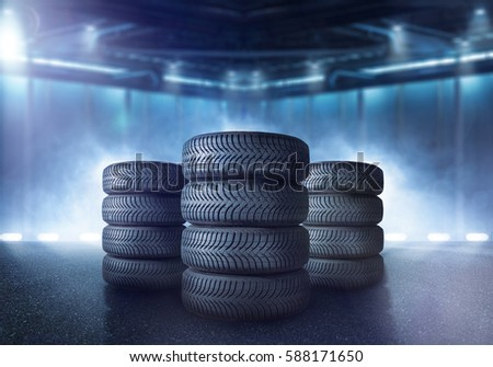 Tires are stacked in a warehouse #588171650