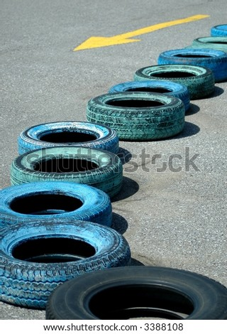Tires  arrangement in go cart track