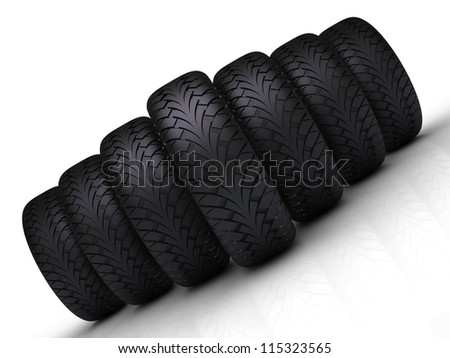 Tires Formation Isolated on White Background