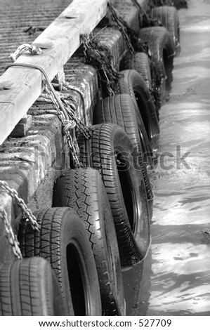 Tires on wharf