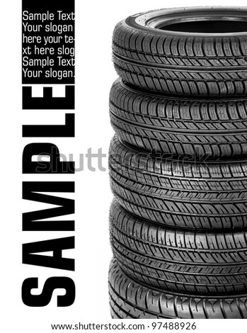 Tires stacked up and isolated on white background