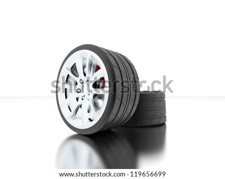 Tires with disc highlights isolated