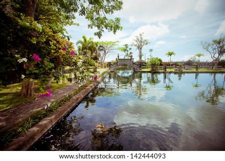 Tirtagangga water palace on Bali island, Indonesia - stock photo