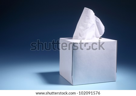 tissue paper box on the blue background #102091576