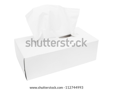 Tissues box isolated on white with clipping path