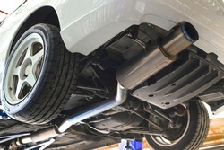 Titanium Exhaust System in Sport Racing Car.