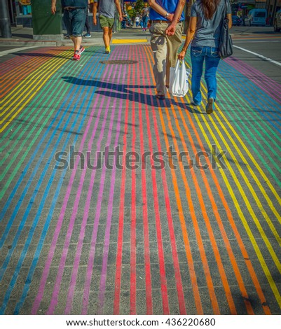 Shutterstock Title: gay passage with rainbow crossing Description: HDR of Rainbow cross walk in gay Castro area of San Francisco Remark: Castro is a gay district or gay community in San Francisco color spectrum