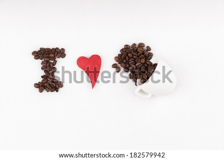 Title I love espresso made of coffee beans and red heart - stock photo