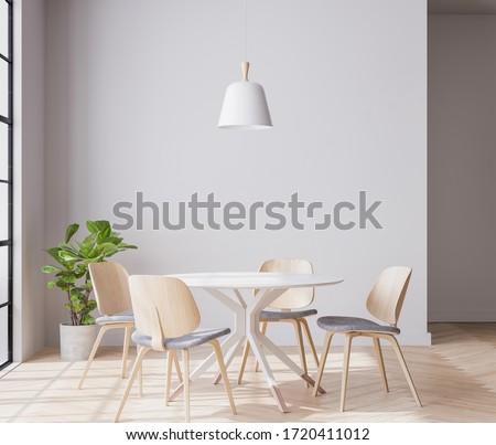 Title: Interior space of wooden dining room, minimal, 3D render, 3D illustration
