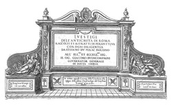 Title print with a monument with title, flanked by Faam and Vadertje Tijd, Etienne Duperac, 1575, vintage engraving.