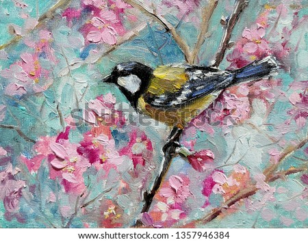 Titmouse in the spring blooming cherry orchard.  Spring flowers blossom and birds with blue sky. Original impressionism oil painting picture on canvas