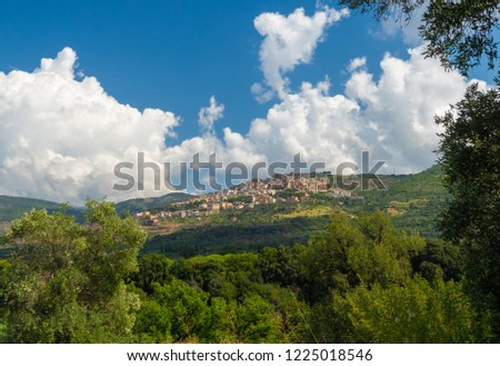 Tivoli (Italy) - The nice little town on the hill in province of Rome, famous for the historical and touristic site Villa Adriana and Villa d'Este. Here a view of historic center. #1225018546