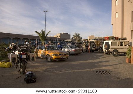 TIZNIT, MOROCCO - JANUARY 1: Budapest - Bamako Rally is to leave the city at January 1, 2006, Tiznit, Morocco. This rally goes for two weeks to reach Bamako.