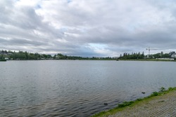 Tjornin, small prominent lake in central Reykjavik, the capital of Iceland.