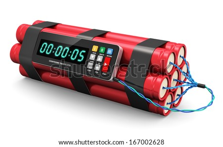 TNT time bomb explosive with digital countdown timer clock isolated on white background