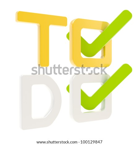 To do list, glossy tick in check box isolated on white