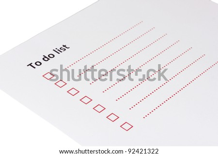 To do list isolated on white