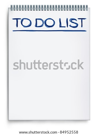 To do list on a notepad representing things to do when planning and organizing a schedule to get things done and be productive.
