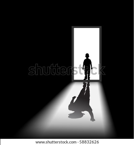 to illustrate a nightmare of kid, the shadow of himself is waving at him. - halloween theme - stock photo