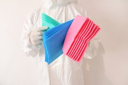 To prevent cross contamination its important to have designated cleaning equipment such as cleaning cloths restricted to certain areas only.Color coding can help accomplish this.