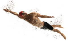 To top. Caucasian professional sportsman, swimmer training isolated on white studio background. Muscular, sportive man practicing in water sport. Concept of action, motion, youth, healthy lifestyle.