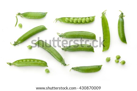 To view of fresh green pea pods and peas on the white background Сток-фото ©