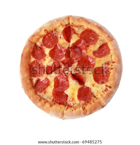 To view pizza isolated on white