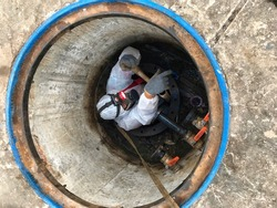 To work in confined spaces Underground tank.