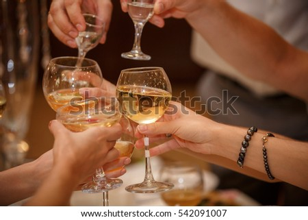 Toast at celebration, group of people celebrating holiday with glasses with alcoholic drinks #542091007