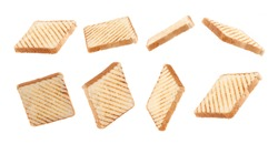 toast bread float, fly with grill marks on white background