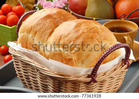 Toast Bread in basket on restaurant table