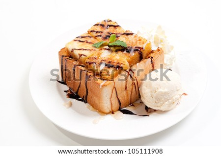 Toast Bread Pudding with ice cream
