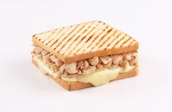 toast bread sandwich tuna with melted mozzarella cheese isolated on white background